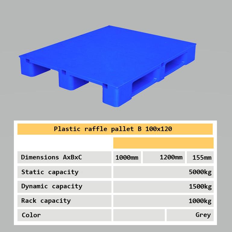 Industrial plastic raffle pallet 100x120