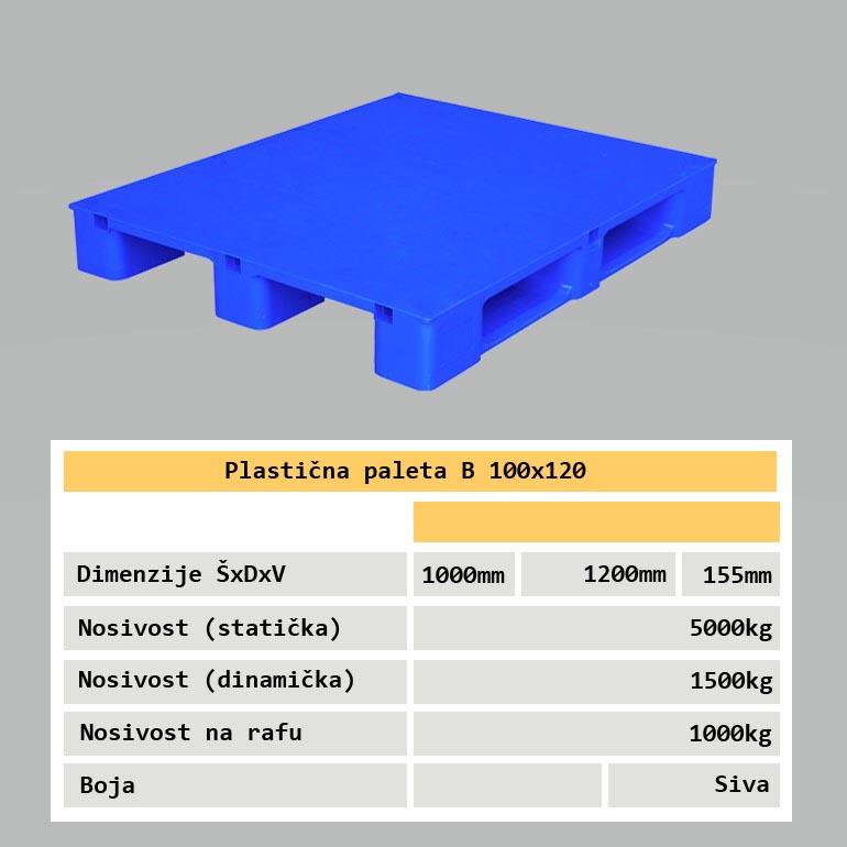 Industrijska plastična paleta za raf 100x120